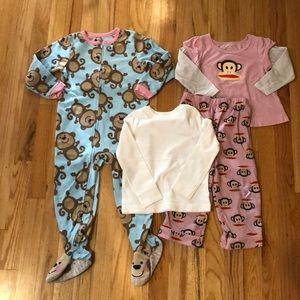 Other - Girls size 3T shirt & 2 pairs of pajamas
